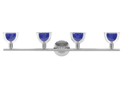 Access Lighting 61045 BS CBC Torch Collection Four Light Bath Vanity or Wall Fixture in Brushed Steel Finish and Cobalt Blue Glass - Quality Discount Lighting