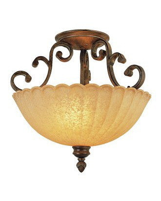 Trans Globe Lighting 2222 BRG Tuscan 2 Light Semi Flush Mount in Burnished Gold Finish - Quality Discount Lighting