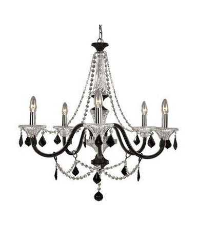 Trans Globe Lighting Astoria-5 Traditional Versailles Collection 5 Light Chandelier in Black and Clear Finish - Quality Discount Lighting