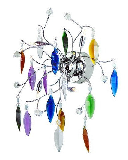 Trans Globe Lighting MDN-420 MC Hadano Collection 4 Light Multi color Crystal Wall Sconce in Polished Chrome Finish - Quality Discount Lighting
