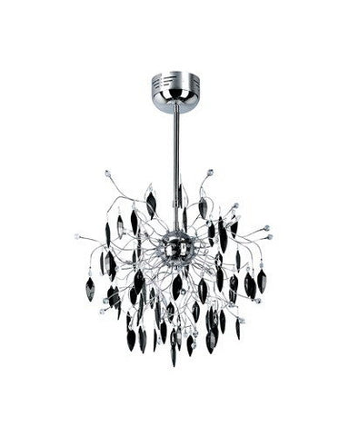 Trans Globe Lighting MDN-424 BK Hadano Collection 8 Light Black Crystal Pendant Chandelier in Polished Chrome Finish - Quality Discount Lighting