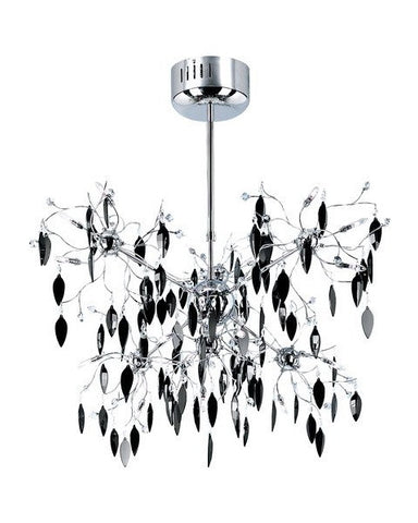 Trans Globe Lighting MDN-426 BK Hadano Collection 18 Light Black Crystal Pendant Chandelier in Polished Chrome Finish - Quality Discount Lighting
