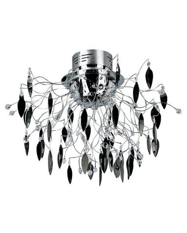 Trans Globe Lighting MDN-425 BK Hadano Collection 10 Light Black Crystal Ceiling Mount in Polished Chrome Finish - Quality Discount Lighting