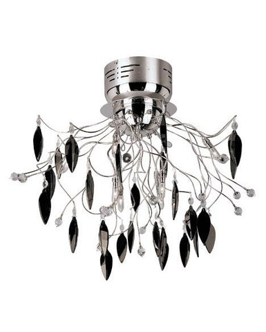 Trans Globe Lighting MDN-423 BK Hadano Collection 8 Light Black Crystal Ceiling Mount in Polished Chrome Finish - Quality Discount Lighting