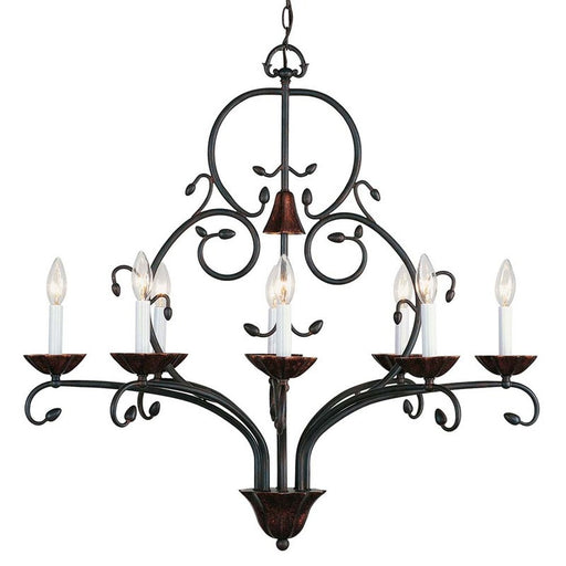 International Lighting 13890-02 Contessa Collection 8 Light Wrought Iron Chandelier in Artisan Bronze Finish - Quality Discount Lighting