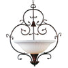 International Lighting 13895-02 Contessa Collection 3 Light Wrought Iron Pendant Chandelier in Artisan Bronze Finish - Quality Discount Lighting