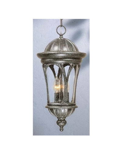 Vaxcel Lighting OD38996 SE Three Light Exterior Outdoor Hanging Lantern in Silver Stone Finish - Quality Discount Lighting