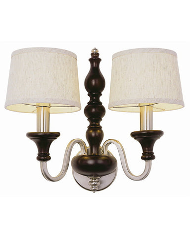 Trans Globe Lighting 6302 BWP New Century Collection 2 Light Wall Sconce in Brown Wood Pewter Finish