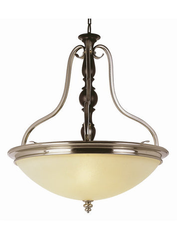 Trans Globe Lighting 6303 BWP New Century Collection 3 Light Bowl Pendant Chandelier in Brown Wood Pewter Finish