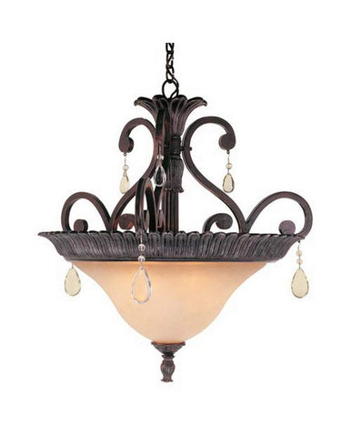 Trans Globe Lighting 9922 RB Three Light Pendant with Crystal in Rustic Bronze Finish - Quality Discount Lighting