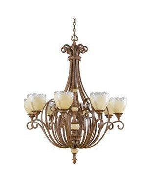 Kichler Lighting 1037 APC Crosswell Collection Eight Light Chandelier in Aged Pecan Finish - Quality Discount Lighting