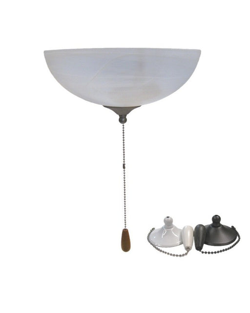 Epiphany 103544-724 Two Light Ceiling Fan Light Optional Brushed Nickel, Oil Rubbed Bronze, or White Finish with White Alabaster Glass - Quality Discount Lighting