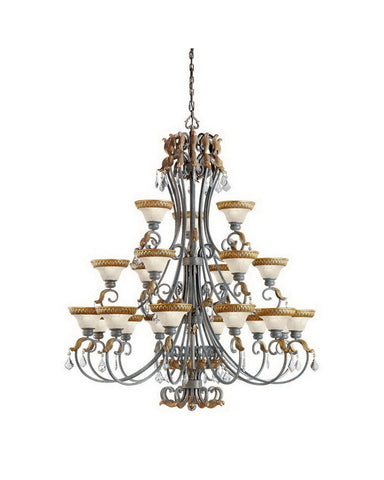 Kichler Lighting 2286 FDS Twenty One Light Chandlier in Feldspar with Gold Leaf Accents Finish - Quality Discount Lighting