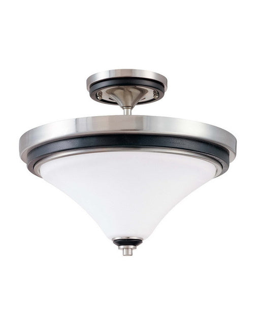 Nuvo Lighting 60-2461 Keen Collection Two Light Energy Star Efficient Fluorescent GU24 Semi Flush Ceiling Mount in Brushed Nickel Finish - Quality Discount Lighting