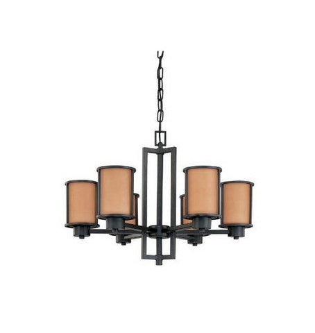 Nuvo Lighting 60-3826 Odeon Collection Six Light Energy Star Efficient Fluorescent GU24 Chandelier in Aged Bronze Finish - Quality Discount Lighting
