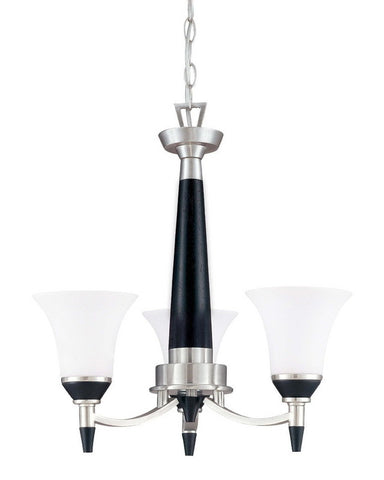 Nuvo Lighting 60-2454 Keen Collection Three Light Energy Star Efficient Fluorescent GU24 Chandelier in Brushed Nickel Finish - Quality Discount Lighting