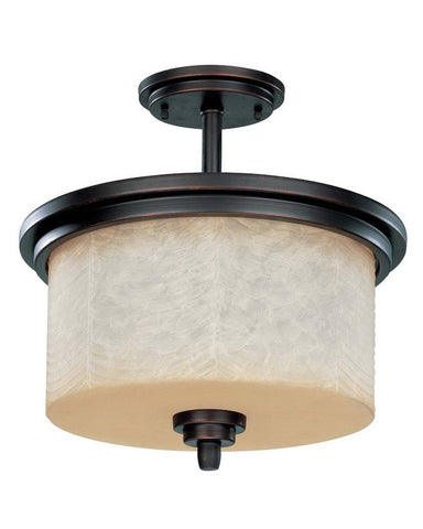Nuvo Lighting 60-3852 Lucern Collection Three Light Energy Star Efficient Fluorescent GU24 Semi Flush Ceiling Mount in Patina Bronze Finish - Quality Discount Lighting