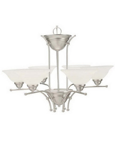 Leadco Lighting 1248 SLM Six Light Chandelier in Silver Mist Finish - Quality Discount Lighting