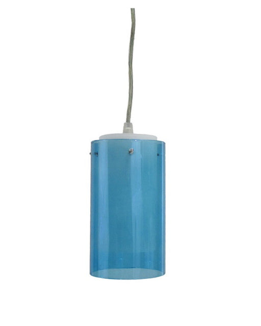Epiphany Lighting PCP126 One Light Mini Pendant in Brushed Nickel Finish with Aquamarine Translucent and White Glass
