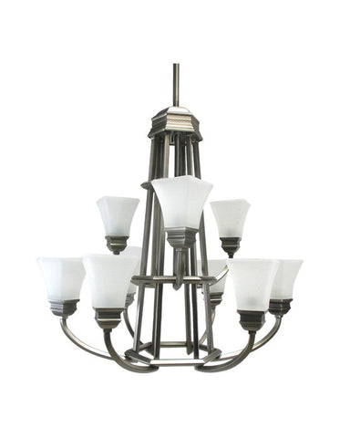 Kichler Lighting 1665 AP Polygon Collection Nine Light Hanging Chandelier in Antique Pewter Finish - Quality Discount Lighting