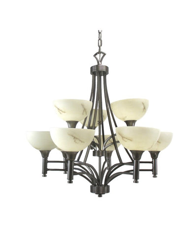 Triarch Lighting 29744 BS Nine Light Hanging Chandelier in Brushed Steel Finish - Quality Discount Lighting