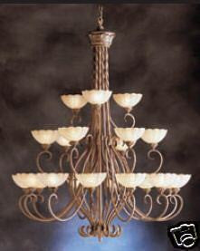 Kichler Lighting 1985 BRL Moonflower Collection Twenty One Light Three Tier Hanging Chandelier in Brulee Finish - Quality Discount Lighting