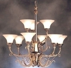 Kichler Lighting 1658 BAB Graceville Collection Nine Light Hanging Chandelier in Burnished Antique Brass Finish - Quality Discount Lighting