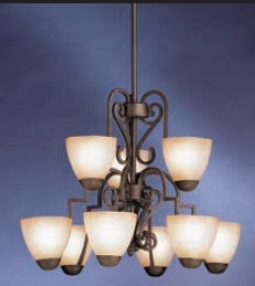 Kichler Lighting 2482 DBK Lebes Collection Nine Light Hanging Chandelier in Distressed Black Finish - Quality Discount Lighting
