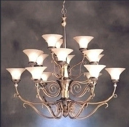 Kichler Lighting 1659 BAB Fifteen Light Graceville Collection Hanging Chandelier in Burnished Antique Brass Finish - Quality Discount Lighting