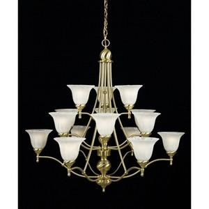 Quoizel Lighting AM5105Y Fifteen Light Three Tier Amherst Collection Hanging Chandelier in Satin Brass Finish - Quality Discount Lighting