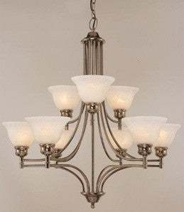 Trans Globe Lighting 9299AN Nine Light Two Tier Chandelier in Antique Nickel Finish - Quality Discount Lighting