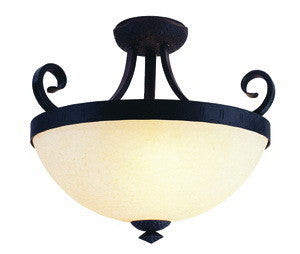 Trans Globe Lighting 3715 Three Light Semi Flush Ceiling Mount in Weathered Bronze Finish - Quality Discount Lighting
