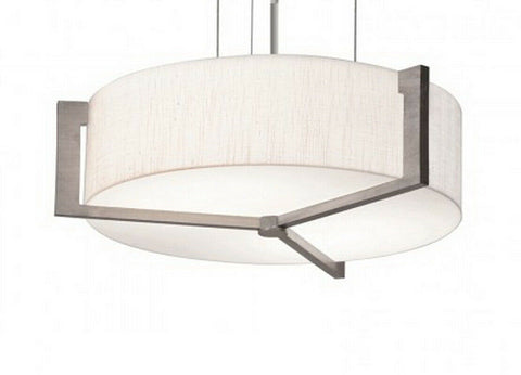 AFX APP152400L30D1WG-LW Apex Collection LED Pendant Chandelier in Weathered Grey Wood Finish with Fabric Shade
