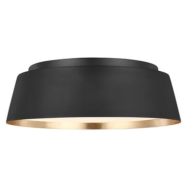 Asher Model #1003 Three Light Flush Ceiling Fixture in Midnight Black or Matte White with Gold Leaf Finish