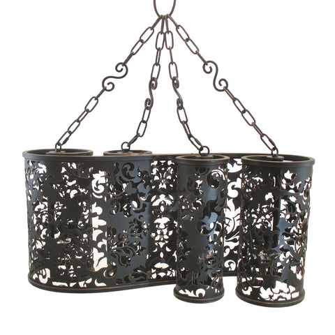 Kalco Lighting B2535 AC Ophelia Collection Four Light Pendant Chandelier in Antique Copper Finish - Discount Lighting Fixtures
