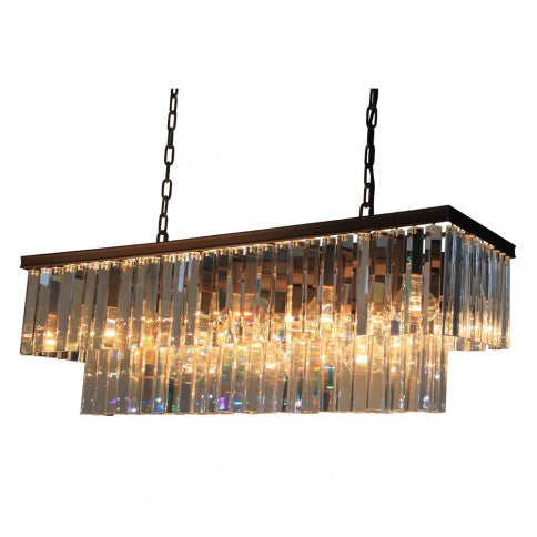 ARTCRAFT EL DORADO AC10407JV Thirteen Light Linear Crystal Chandelier in Java Brown Finish