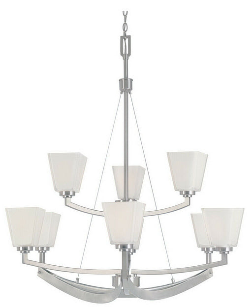 Designers Fountain Lighting 83089 SP Nine Light Hanging Chandelier in Satin Platinum Finish
