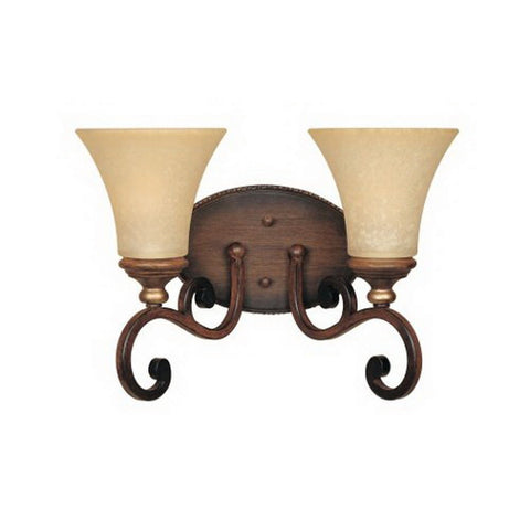 Designers Fountain Lighting 81502 BWG Montreaux Collection Two Light Bath Vanity Wall Fixture in Burnt Walnut with Gold Accents Finish - Quality Discount Lighting