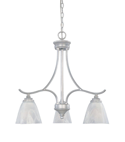 Designers Fountain Lighting 81983 MTP Bella Vista Collection Three Light Hanging Chandelier in Matte Pewter Finish - Quality Discount Lighting