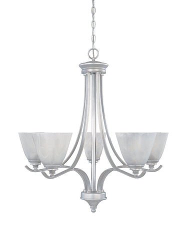 Designers Fountain Lighting 81985 MTP Bella Vista Collection Five Light Hanging Chandelier in Matte Pewter Finish - Quality Discount Lighting