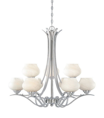 Designers Fountain Lighting 82089 SP Moon Shadow Collection Nine Light Hanging Chandelier in Satin Platinum Finish - Quality Discount Lighting
