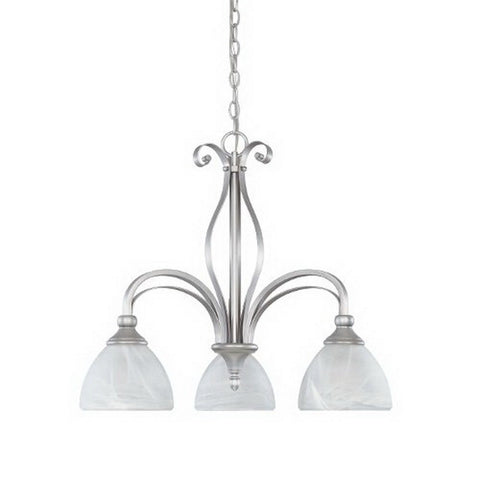 Designers Fountain Lighting 82883 MTP Del Amo Collection Three Light Hanging Chandelier in Matte Pewter Finish - Quality Discount Lighting