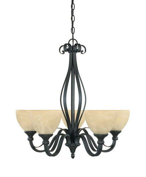 Designers Fountain Lighting 82885 BNB Five Light Hanging Chandelier in Burnished Bronze Finish