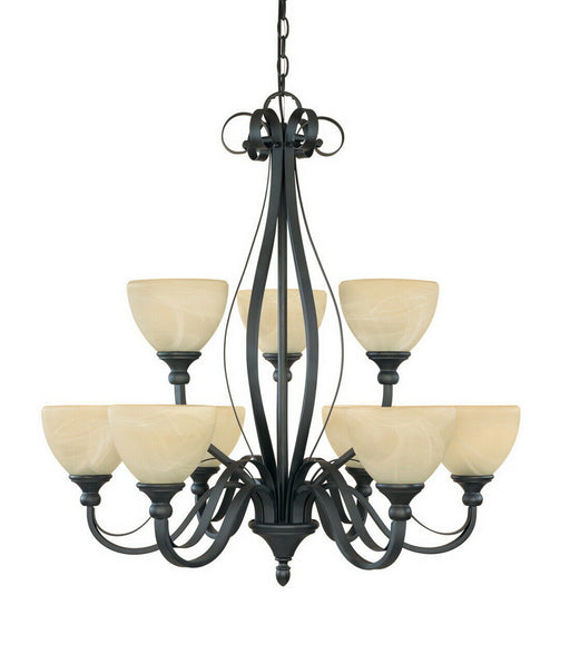 Designers Fountain Lighting 82889 BNB Nine Light Hanging Chandelier in Burnished Bronze Finish