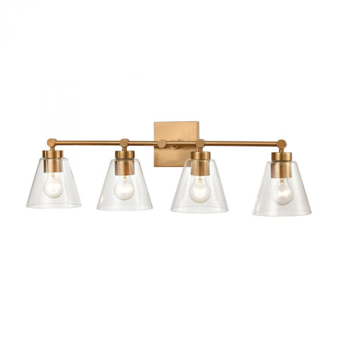 East Point Model #9XHWD Four Light Bath Vanity Wall Light in Satin Brass Finish