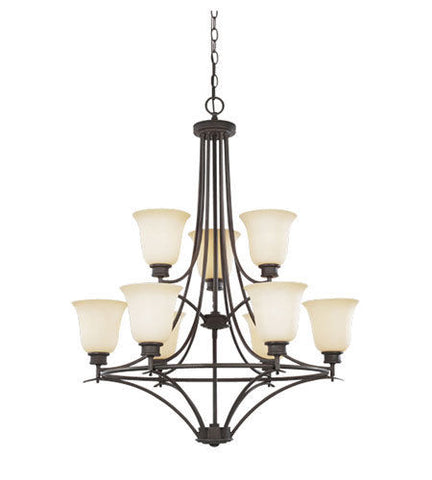 Designers Fountain Lighting ES96989 ORB Nine Light Energy Star GU24 Hanging Chandelier in Oil Rubbed Bronze Finish