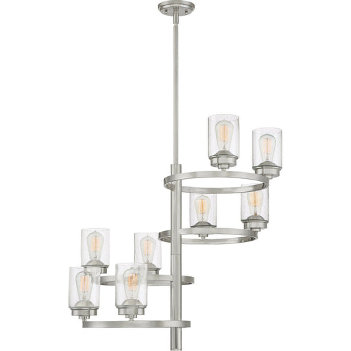 Quoizel Lighting EVL5008 BN Evolution Collection Eight Light Hanging Chandelier in Brushed Nickel Finish