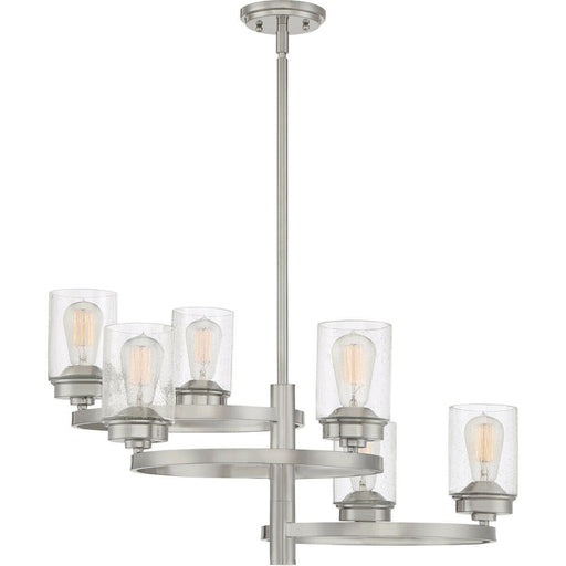 Quoizel Lighting EVL5006 BN Evolution Collection Six Light Hanging Chandelier in Brushed Nickel Finish