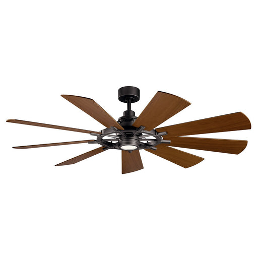 "Gentry 300265 LED 65"" Ceiling Fan in Anvil Iron or Distressed Black or Weathered Zinc Finish"