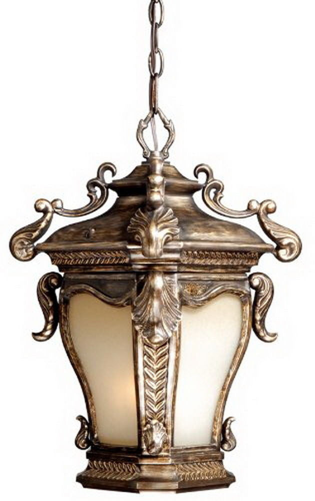 Vaxcel Lighting AC-ODD110 PZ Acacia Collection One Light Outdoor Exterior Hanging Lantern in Parisian Bronze Finish